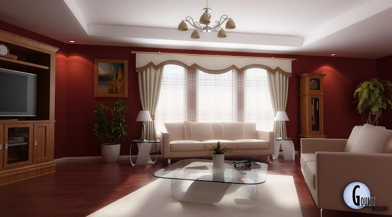 Red Living Room Idea (8 Image)