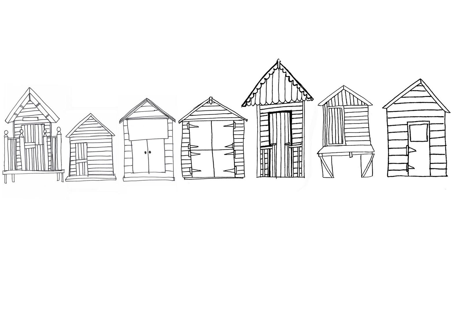 Line Drawing Beach : Beach huts rebecca mack textiles