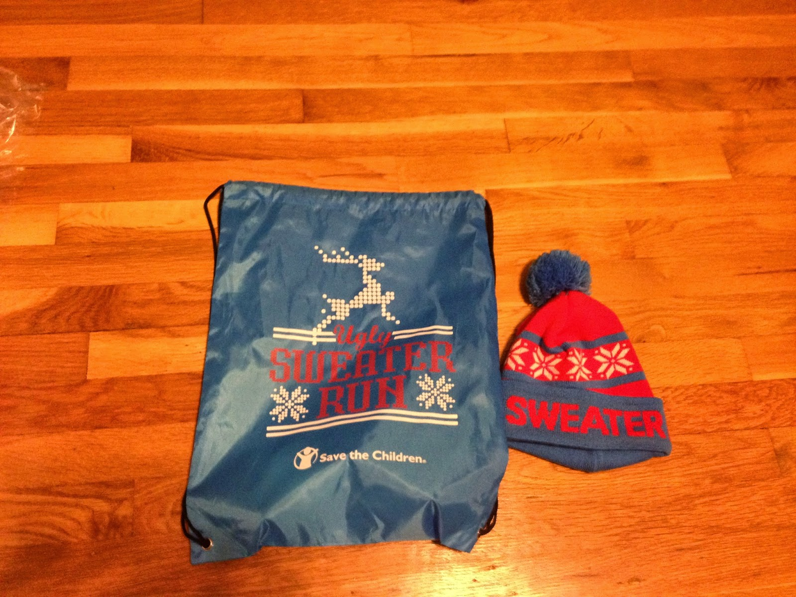 the ugly sweater run swag bag and hat