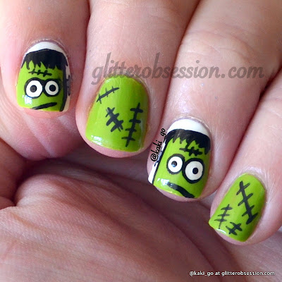 Halloween Nail Art, Frankenstein Nail Art