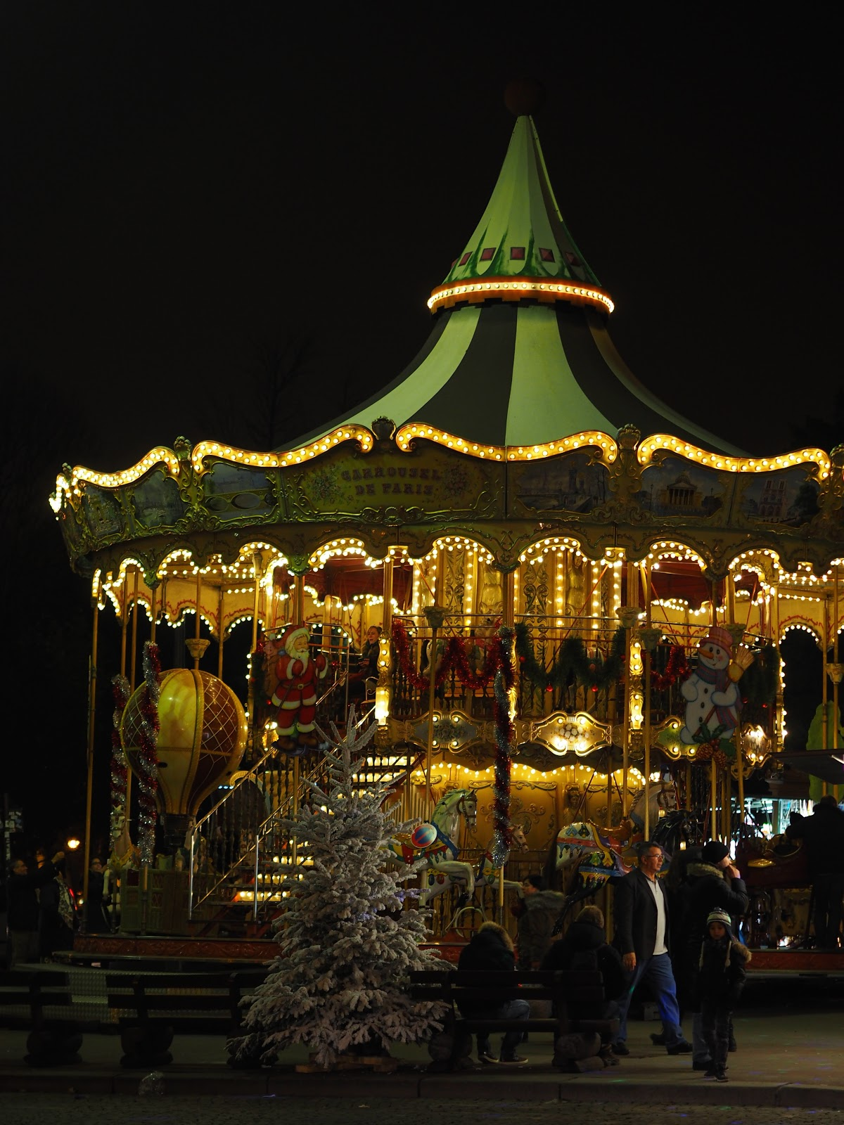 Merry-go-round in Paris at Christmas time, at night