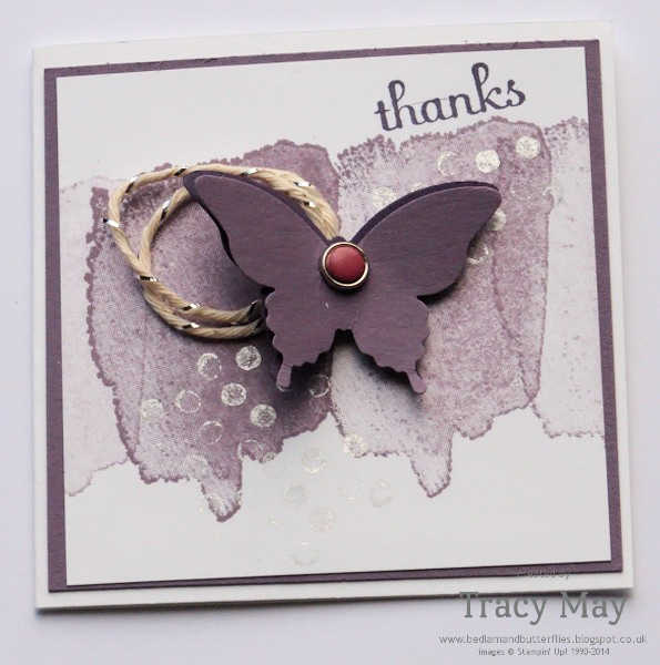 Stampin Up 3x3 Elegant butterfly card Tracy May card making classes