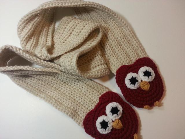 Raising Mimi Poochiebaby Crochet Pattern Ribbed Owl Scarf