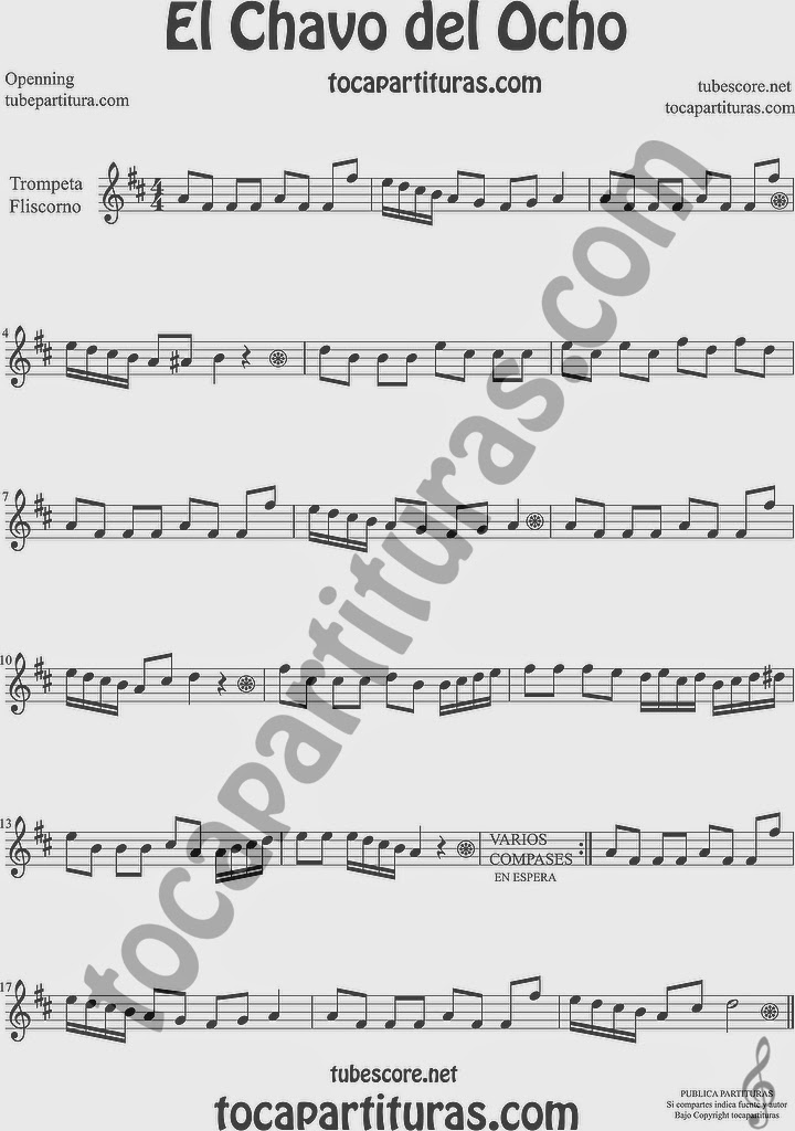 El Chavo del Ocho  Partitura de Trompeta y Fliscorno Sheet Music for Trumpet and Flugelhorn Music Scores