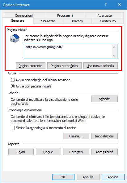 Impostare pagina iniziale Internet Explorer 11
