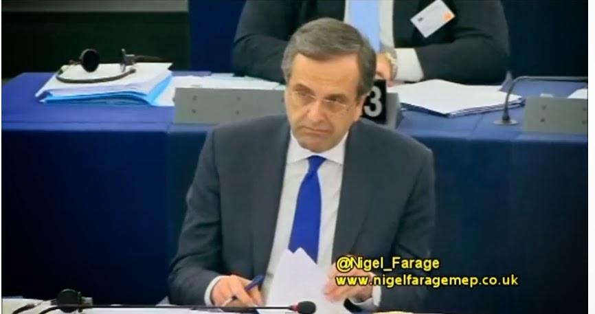 N.Farage σε Α.Σαμαρά: «Να ονομάσετε το κόμμα σας No Democracy»!