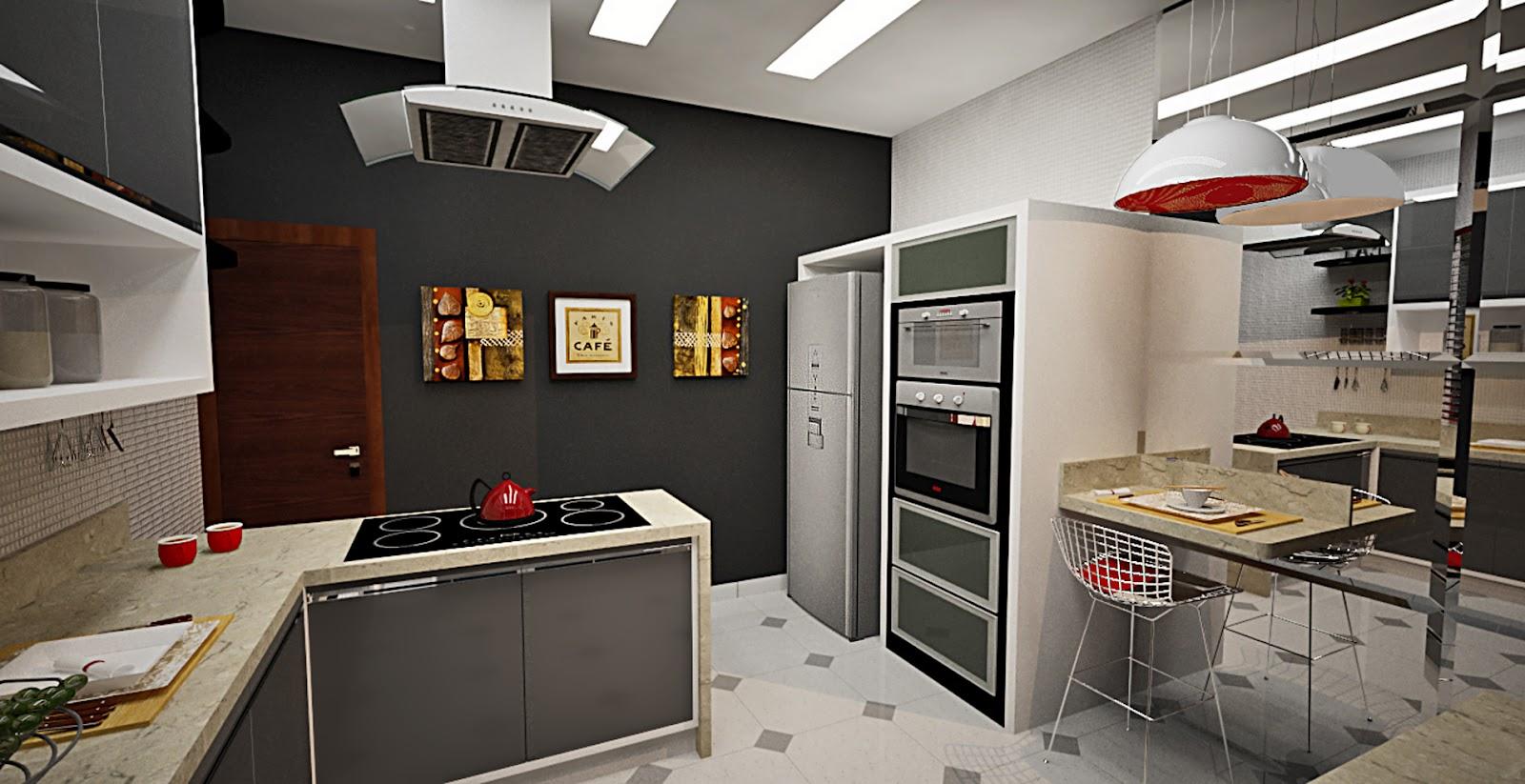 Cozinha com decoração contemporânea utilização de espelhos com  #AB8620 1600 823