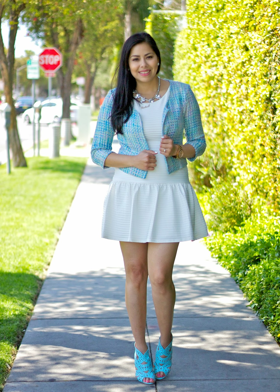 Baby Blue blazer on white dress, Blue accessories, pastel blue tweed, pastel blue shoes