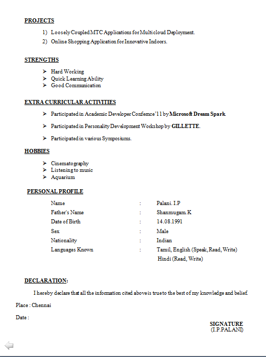 updated resume format for freshers cover letter sample - Curriculum Vitae Format Free Download