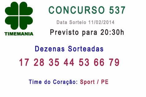 Resultado Timemania Concurso 537