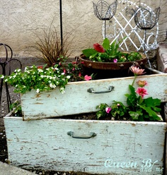 These rustic drawers make great planters for an outside garden area.