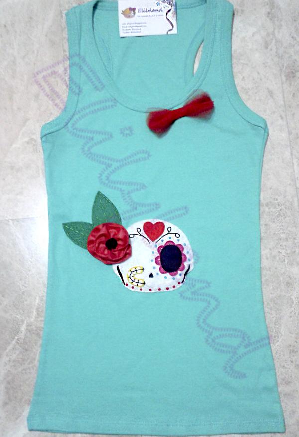 Camiseta Calavera Mini-Elily Hecho a Mano