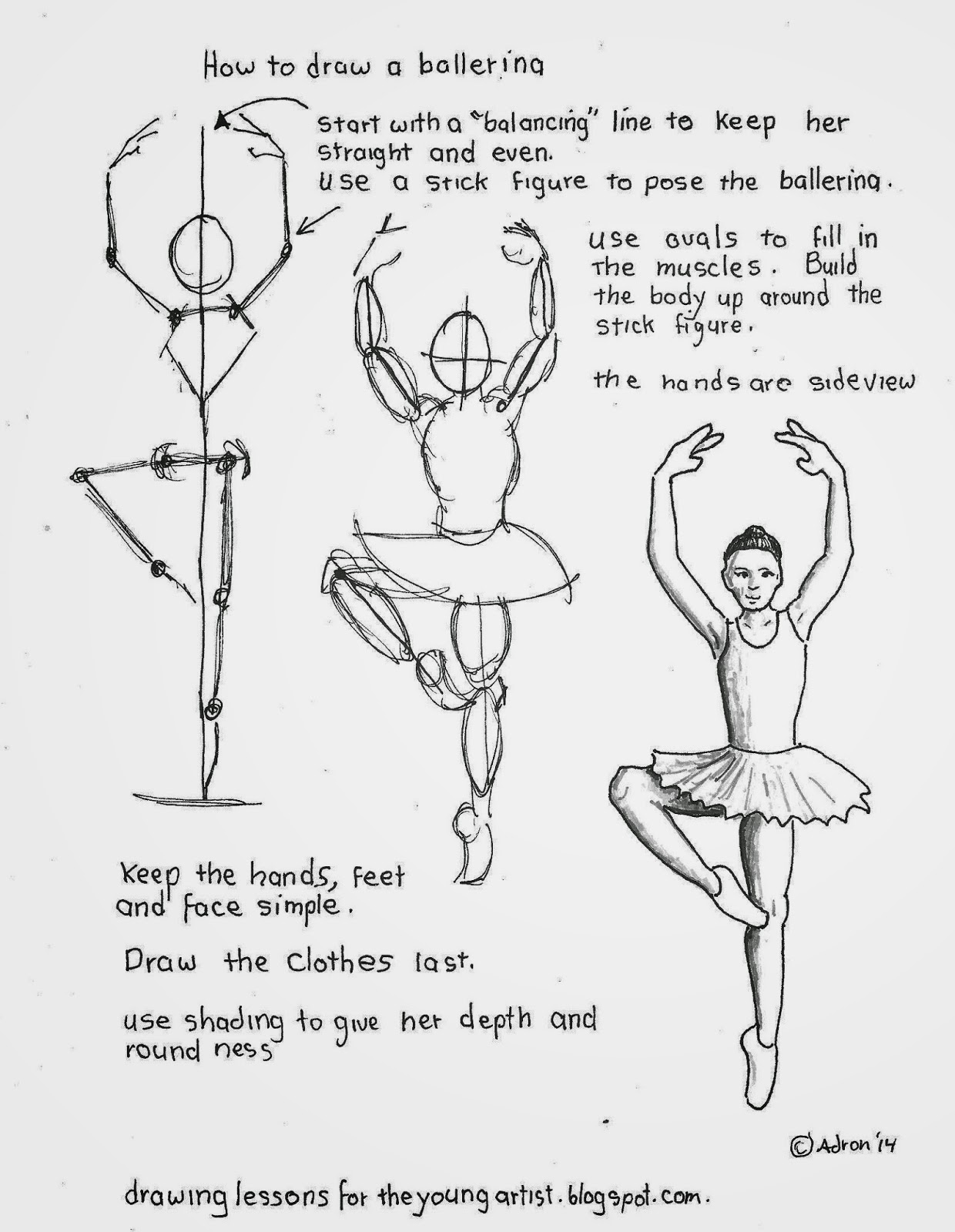 How to draw worksheets for the young artist how to draw a for Ballerina drawing step by step