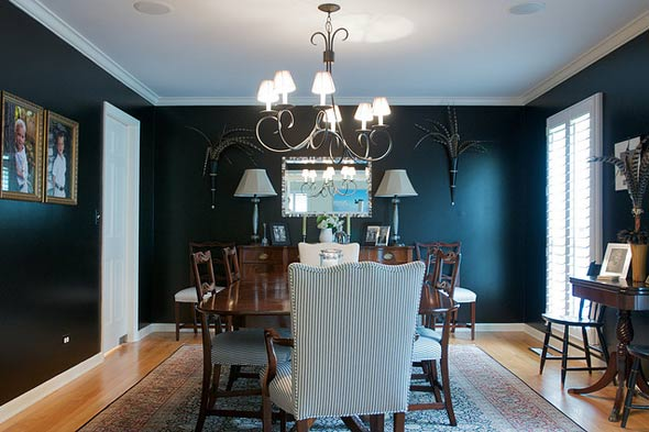 Black painted rooms walls etc days of chalk and chocolate - Black walls in dining room ...