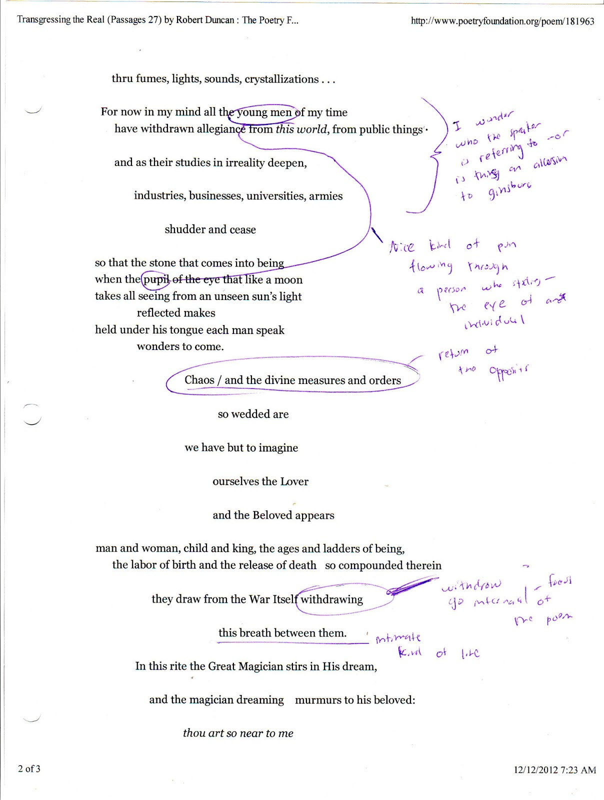 Analysis of the poem The Prophet