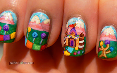 Candyland nails. Cute board game nail art featuring Candyland!
