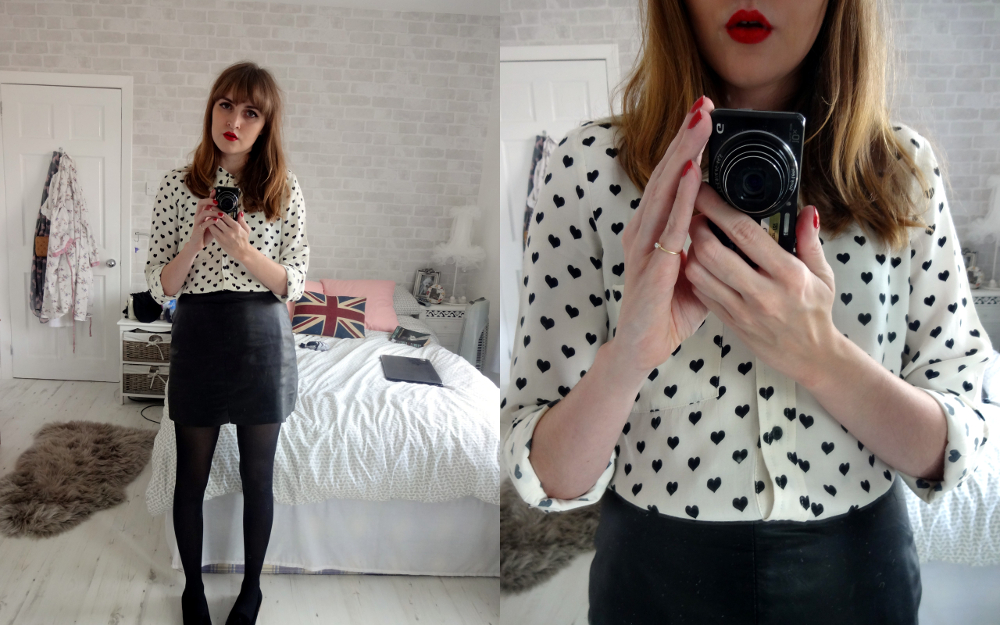 topshop heart print blouse, topshop leather mini skirt