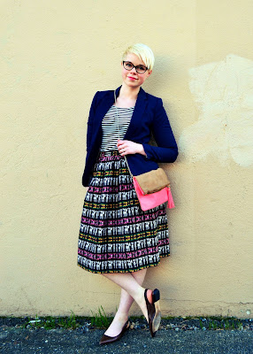 Rivet and Sway, Pattern Mixing, seattle, street style, fleur d'elise, neon, South American, full skirt, cat eye glasses