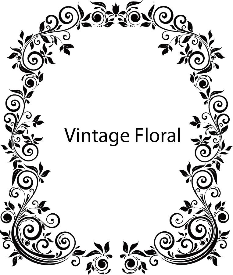 ヴィンテージな花柄フレーム Vintage Floral Frame Vector イラスト素材