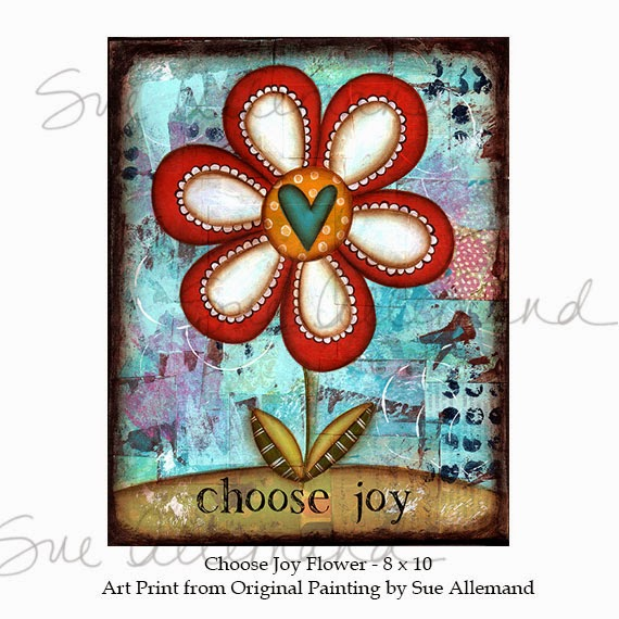 Choose Joy Flower by Sue Allemand, Mixed Media Art, www.sueallemand.com