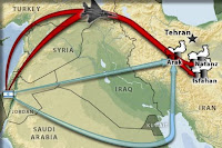 Possible routes for Israeli attacks on Iranian nuclear program