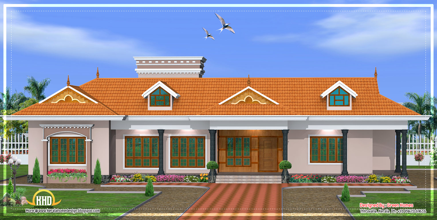 Kerala single story house model - 2800 Sq. Ft. - April 2012
