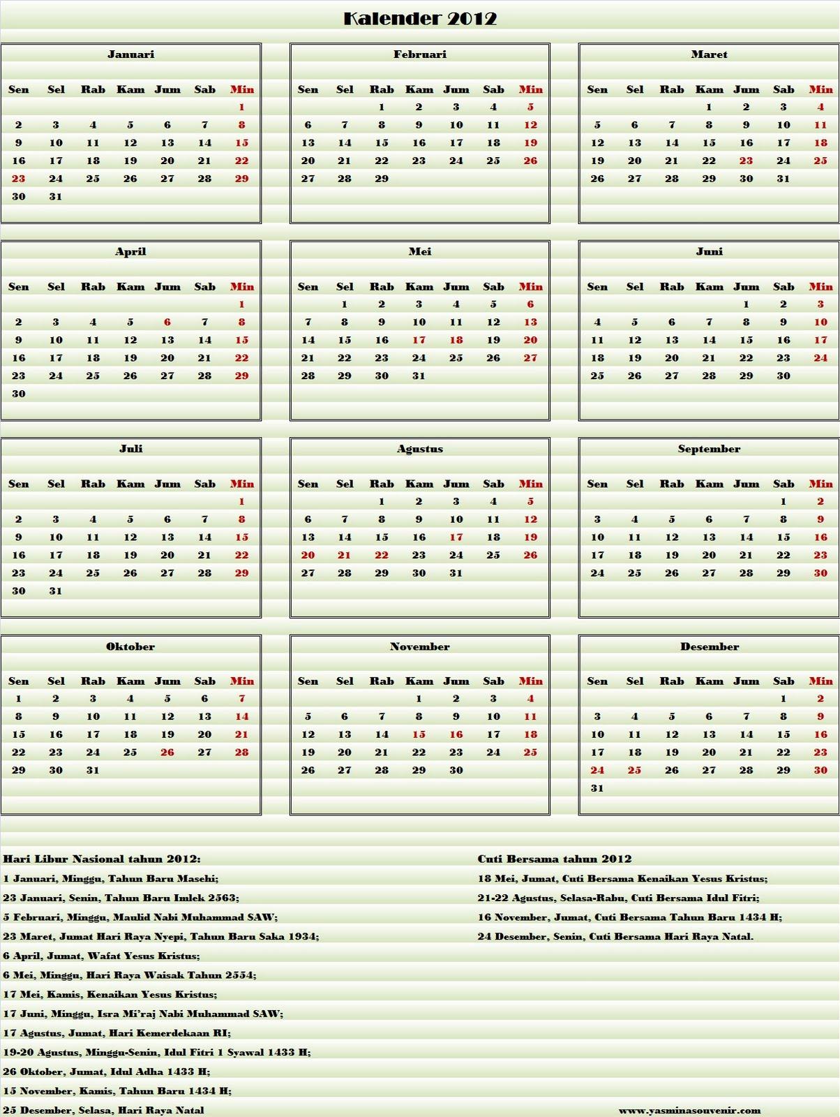 yah Di akhir tahun 2011 ini saya mau berbagi kalender tahun 2012