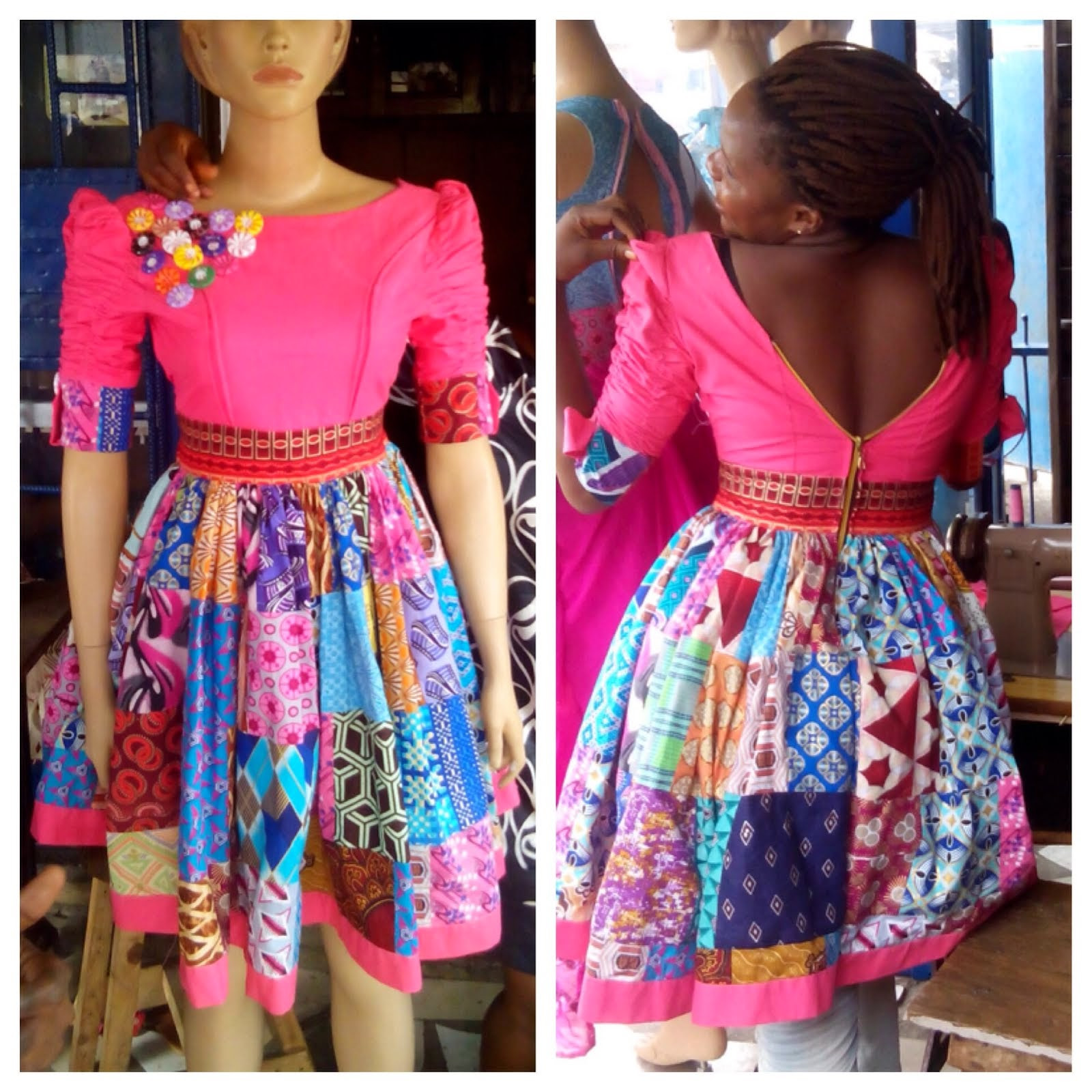 Patterned sectioned gown by one of my graduant