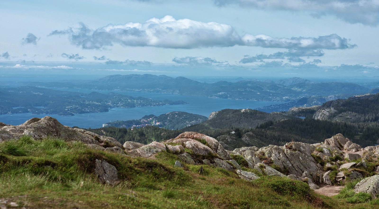 Mountain Ulriken in Bergen Norway fjords city view - hiking and free activities