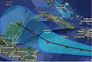 Tropischer Sturm ERNESTO weiter mit Kurs auf Riviera Maya, Yucatán, Ernesto, aktuell, Playa del Carmen, Cancún, Riviera Maya, Yucatán, Mexiko, Satellitenbild Satellitenbilder, Vorhersage Forecast Prognose, Atlantische Hurrikansaison, Karibik, Hurrikansaison 2012, August, 2012,