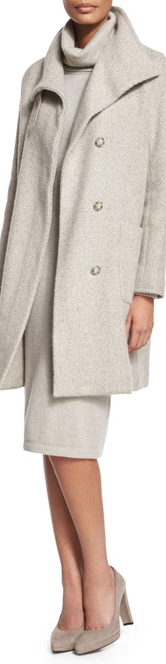 Ralph Lauren Black Label Long-Sleeve Textured Coat Pale Gray Melange