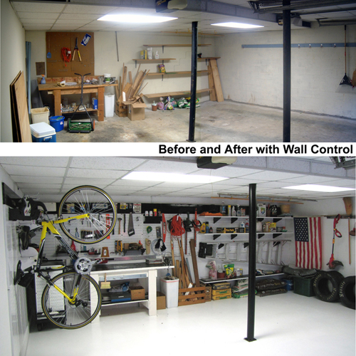 Garage metal pegboard tool board before and after photo
