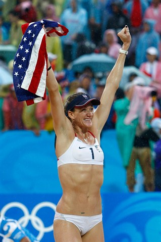 Olympic camel toe takes London - Kerri Walsh shows off her nipples in