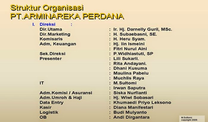 Struktur Organisasi Arminareka Perdana