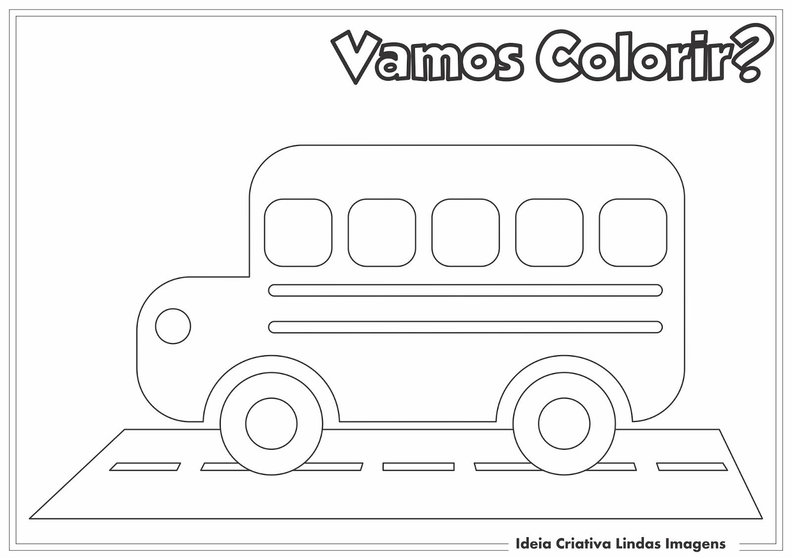Dia da Escola - Ônibus escolar desenho para colorir