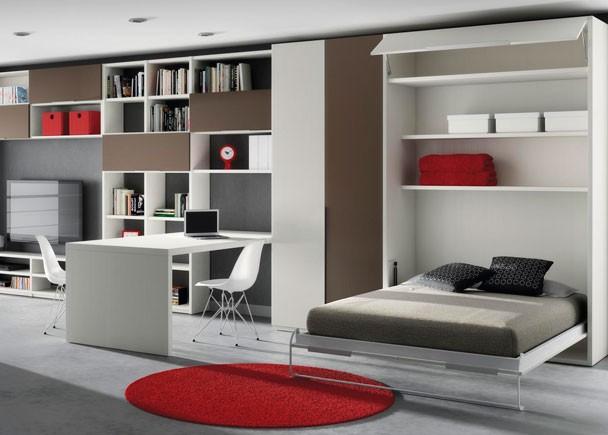 Camas abatibles de matrimonio for Mesas de estudio para espacios pequenos