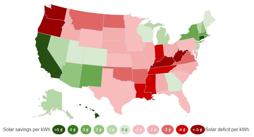 Interactive Grid Parity Map for Solar Energy - USA