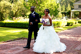 Mickey and Patricia walk down the aisle at Lakewold Gardens