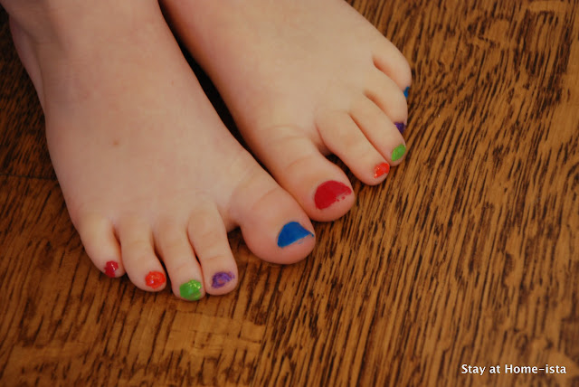 rainbow pedicure for a 5 year old
