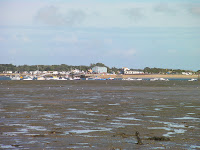 ferry boat hayling island from eastney at low tide