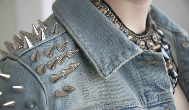 Topshop, Spikes, Jacket, Denim