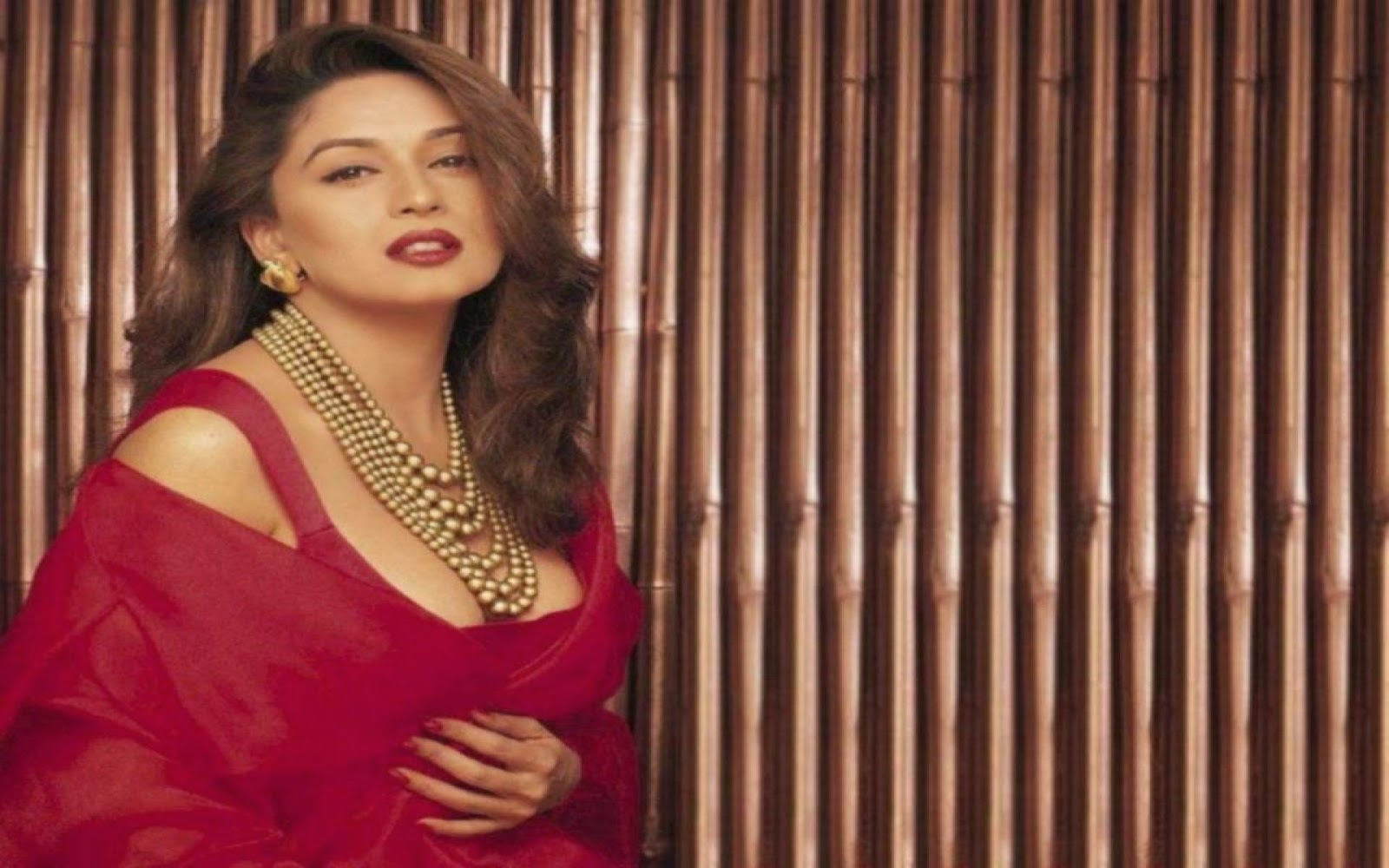 Bollywood Actress Maduri Dixit With Red Cloth HD Wallpaper Free Download
