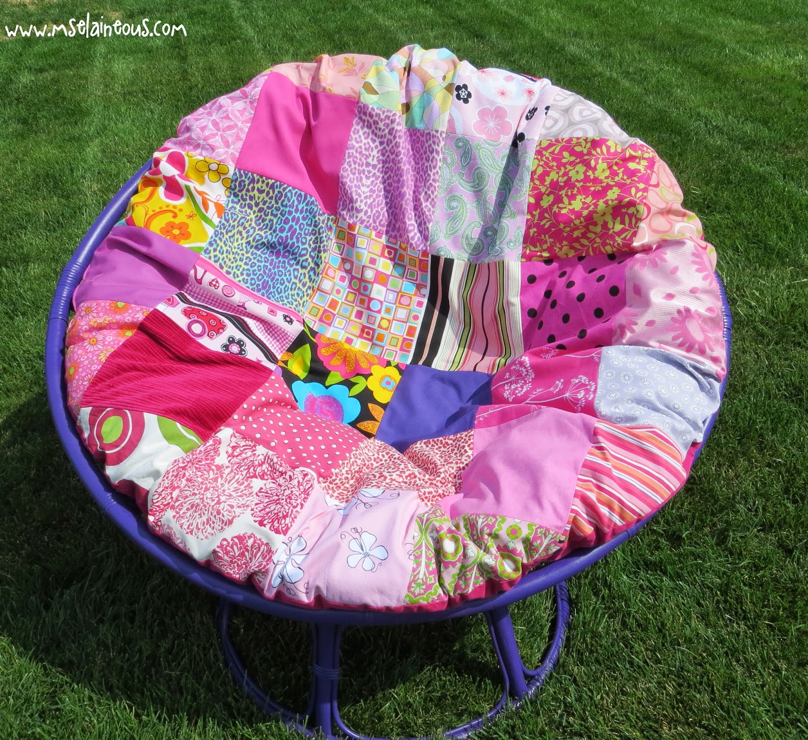 ms elaineous teaches sewing purple and pink papasan remake