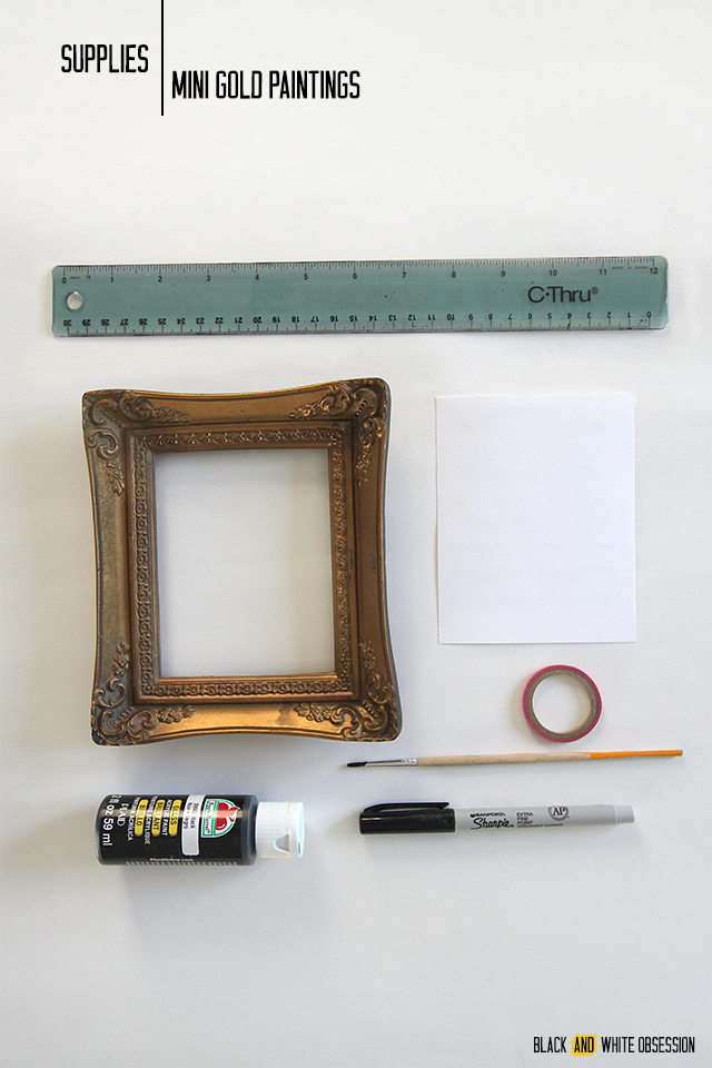 Swap It Like It's Hot: Mini Gold Paintings Supplies | www.blackandwhiteobsession.com