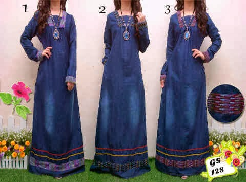 bahan jeans washed kombi rajut fit to L