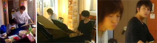 Chiaki stands over Nodame playing the piano / Nodame and Chiaki play side by side in the practice room