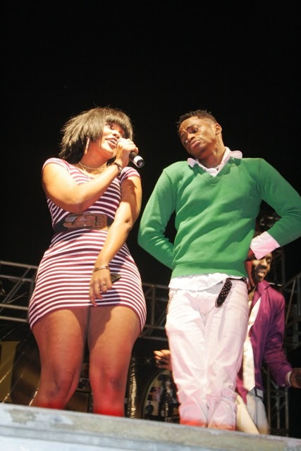 Wema Sepetu on the stage with her boyfriend Diamond in the Serengeti