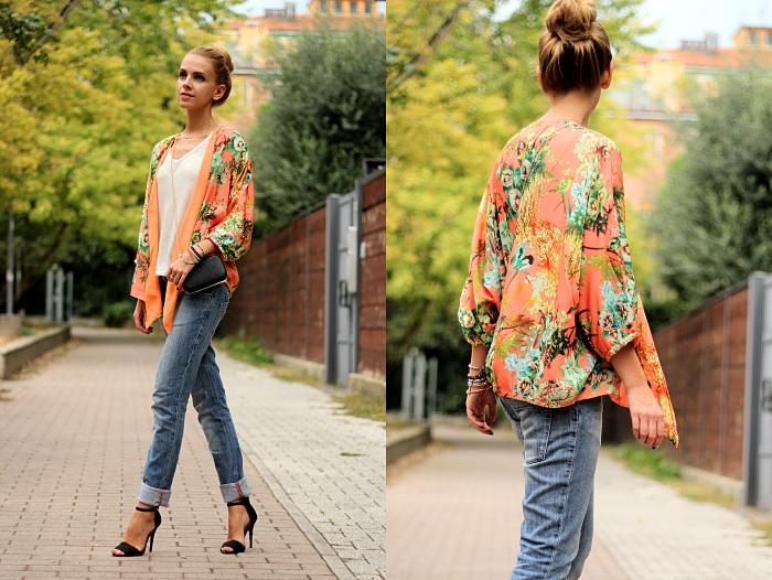 kimono, floral, boyfriend jeans, zara heels