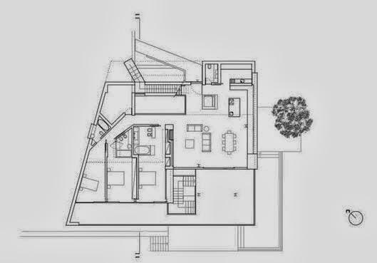 Fachada y planos de una casa moderna frente al mar for Planos casas modernas una planta