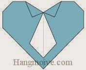 Bước 18: Hoàn thành cách xếp trái tim đeo, thắt caravat bằng giấy theo phong cách origami.